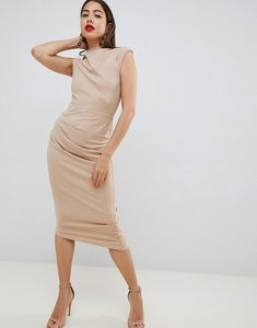 Read more about Asos design midi pencil dress with tuck detail - camel