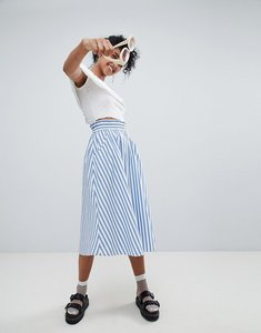 Read more about Monki blue and white stripe midi skirt - blue and white