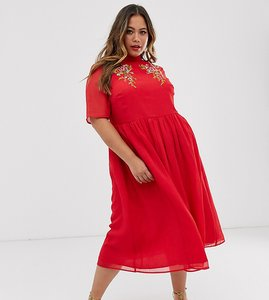 Read more about Asos design curve high neck embroidered midi dress with fluted sleeves