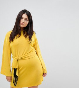 Read more about Asos curve kimono sleeve mini dress with self tie fringe belt - ochre