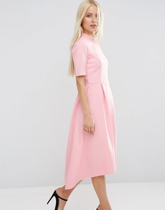 Read more about Asos midi bonded dress with full skirt and dipped hem - sugar pink