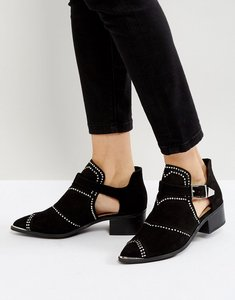 Read more about Missguided cut out studded ankle boots - black