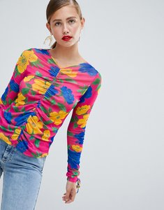 Read more about Asos design ruched long sleeve top in bright floral print - floral