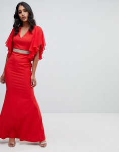Read more about Lipsy ruffle sleeve maxi dress with embellished waist in red