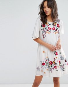 Read more about French connection alice drape embroidered dress - daisy white