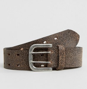Read more about Asos leather wide belt in brown with vintage finish - brown