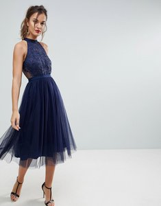 Read more about Asos lace tulle pleated midi scallop dress - navy