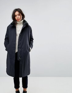 Read more about Parka london duster coat with faux fur collar - navy
