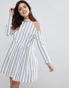 Read more about Asos cold shoulder cotton stripe smock dress - multi