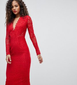 Read more about Asos tall long sleeve lace midi pencil dress - red