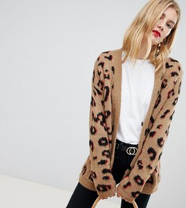Read more about Asos design tall chunky cardigan in leopard - multi
