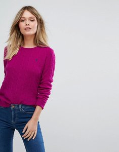 Read more about Polo ralph lauren classic cable crew neck jumper - pink