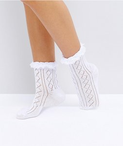 Read more about Asos crochet lace frill ankle socks - white