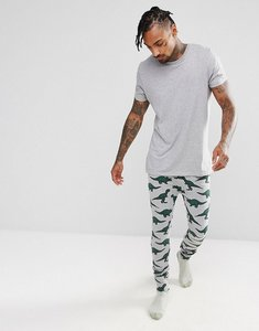 Read more about Asos pyjama bottoms with branded waistband dinosaur print - grey
