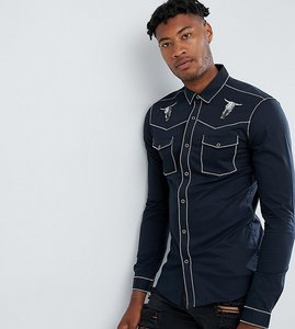 Read more about Asos design tall regular fit western shirt with embroidery in black - black
