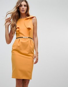 Read more about Paper dolls fluted dress - mustard