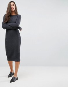 Read more about Asos chunky knit midi dress with rib panel - charcoal