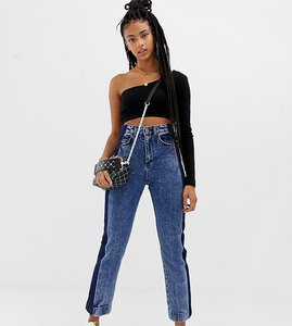 Read more about Collusion straight leg jeans in acid wash with contrast panel - mid snow wash