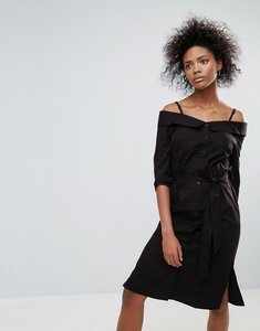 Read more about Neon rose black cotton bardot dress - black