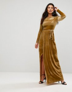 Read more about Club l tie front wrap detail maxi dress - mustard