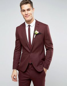 Read more about Asos wedding skinny suit jacket in burgundy micro texture - burgundy