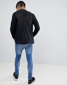 Read more about Asos jersey bomber jacket with mesh back - black