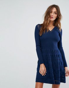 Read more about M missoni long sleeved v neck wool mix knit dress - ew8 navy