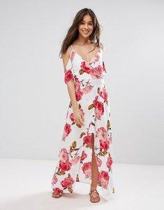 Read more about Parisian cold shoulder floral maxi dress - white fuschia