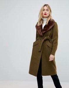 Read more about Vero moda long wool coat with faux fur collar - green