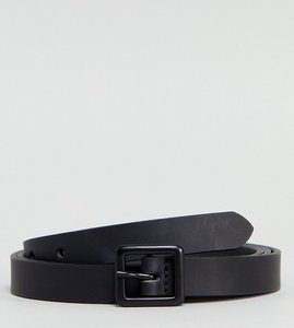 Read more about Asos plus smart skinny leather belt with matte coated buckle in black - black