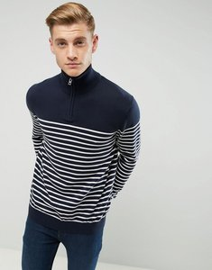 Read more about Esprit 1 2 zip neck knitted jumper with stripe - navy 400