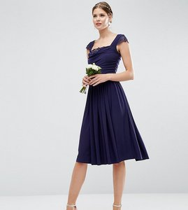 Read more about Asos tall wedding lace insert cowl midi dress - navy