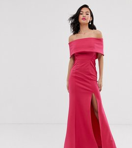 Read more about Laced in love scuba bardot maxi dress with lace insert detail in pink