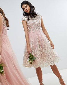 Read more about Chi chi london premium lace midi prom dress with bardot neck - vintage rose gold