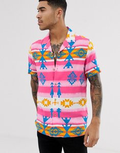c1a359d06 Read more about Asos design festival relaxed aztec printed viscose shirt  with revere collar