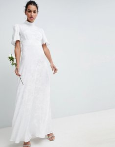 Read more about Asos edition wedding maxi dress in soft jacquard with flutter sleeve - white