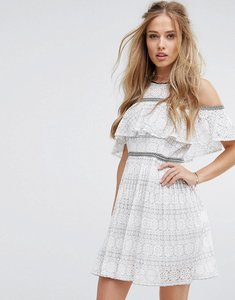 Read more about Foxiedox cold shoulder lace skater dress - white