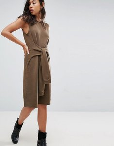 Read more about Nytt sleeveless dress with faux sleeve tie - khaki