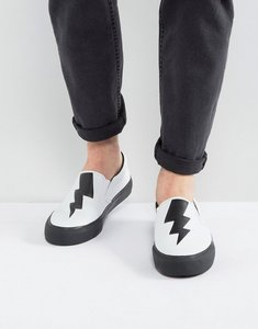 Read more about Asos slip on plimsolls in white with black thunder bolt cut out - white