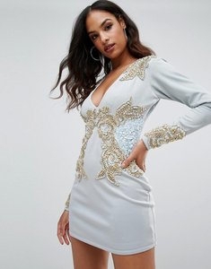 Read more about A star is born long sleeve heavily embellished dress with v front - duck egg