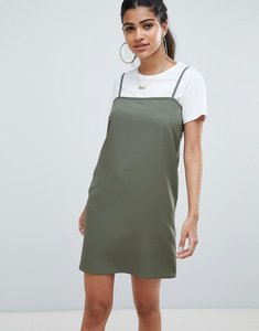 Read more about Asos design square neck cami slip mini dress - khaki