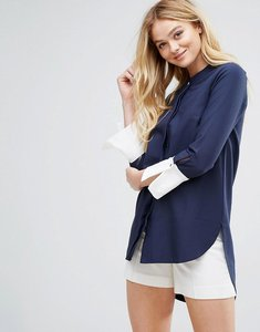 Read more about Closet round hem contrast cuff blouse - navy white