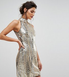 Read more about Tfnc high neck mini dress in gold sequin - gold