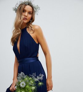 Read more about Tfnc pleated midi bridesmaid dress with cross back and bow detail - navy