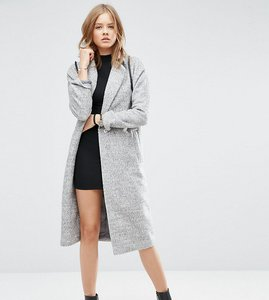 Read more about Asos tall coat with batwing sleeve in midi length - grey marl