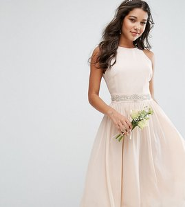 Read more about Tfnc wedding embellished midi dress with full skirt - nude