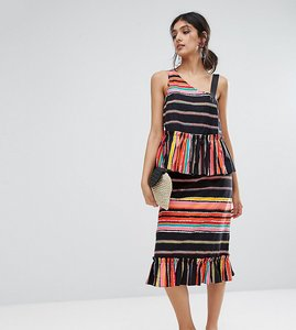 Read more about Asos tall cotton midi ruffle hem skirt in stripe co-ord - multi