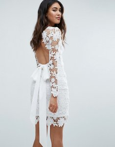 Read more about Club l long sleeve crochet dress with open back tie bow - cream