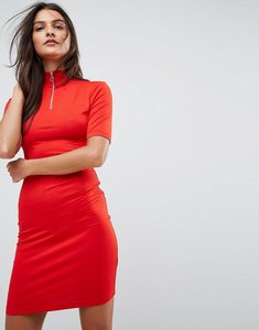 Read more about Asos bodycon dress with high neck and zip detail - red