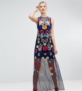 Read more about Asos tall embroidered mesh illusion maxi dress - multi